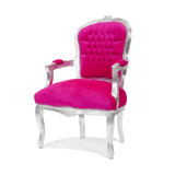 Baroque Armchair Hot Pink with Silver Leaf Trim