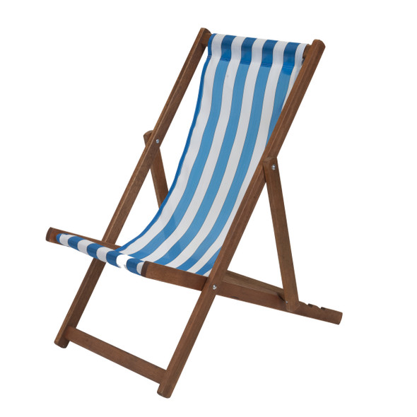 Traditional Wooden Deckchair Blue and White