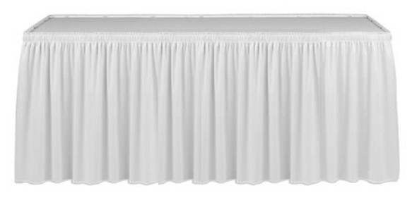 Linen Table Skirting White 9ft