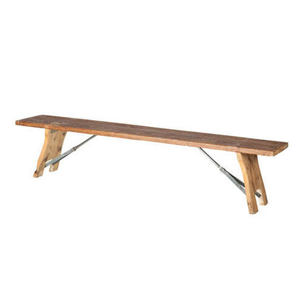 Rustic  Wooden Bench with Foldable legs