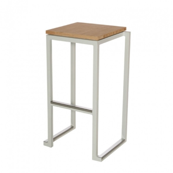 Cube White Bar Stool with Bamboo Seat