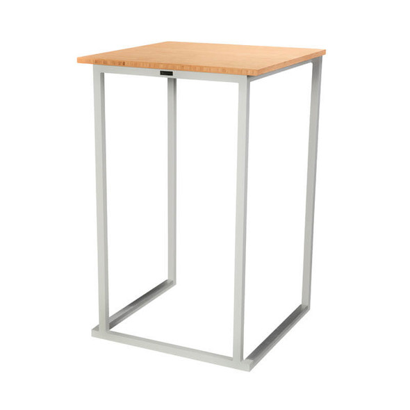 Cube White High Bar Table (Bamboo Top)