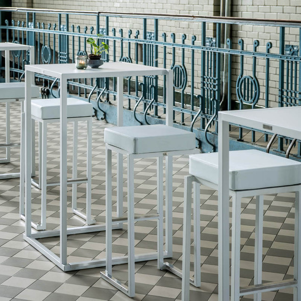 Cube White High Bar Table