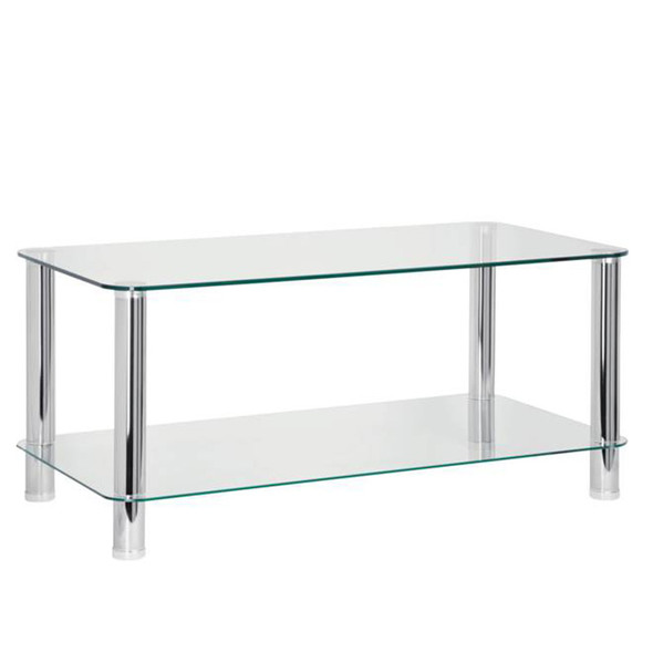 Kodeta Glass Coffee Table - with shelf