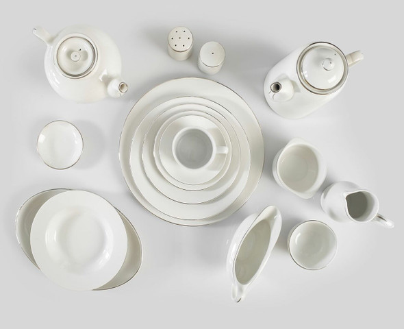 Silver Rim Dinner Plate 12in