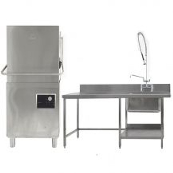 Hood Dishwasher with Pre Rinse Sink & Table