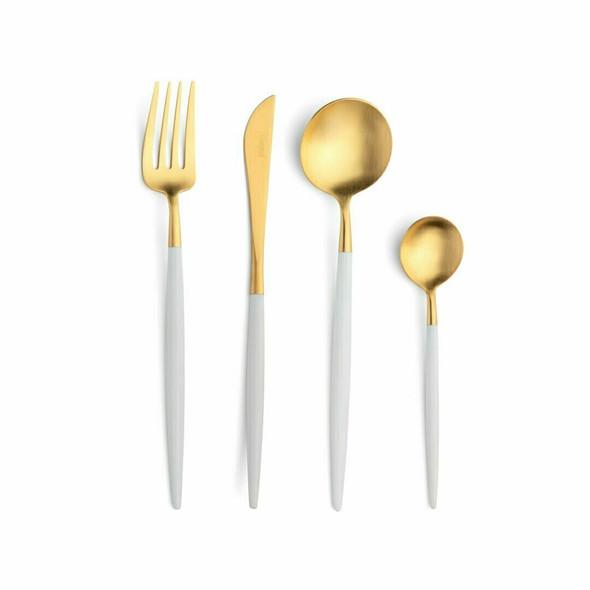 Goa White & Gold Soup Spoon