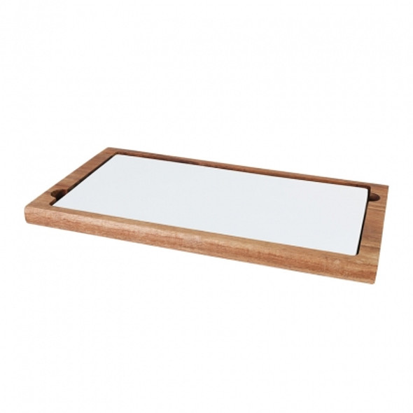 "Platter Wooden Rectangular with Ceramic Plate 14"" x 8"""