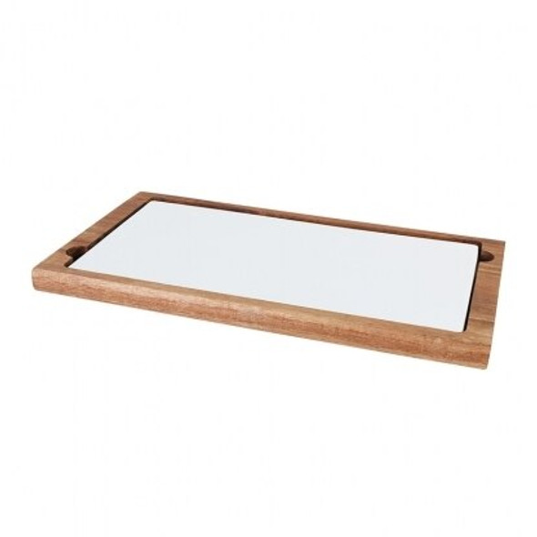 "Platter Rectangular Wooden with Ceramic Plate 12"" x 7.5"""