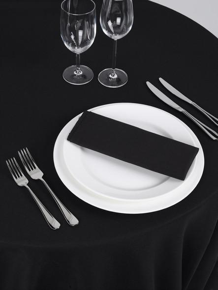 Silk Taffeta Tablecloth Black Round 132in