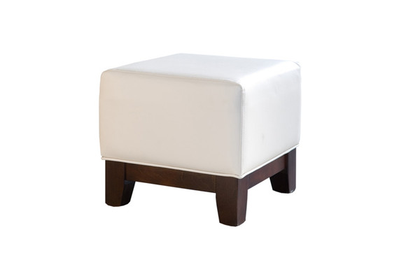 Club Footstool Cream Leather