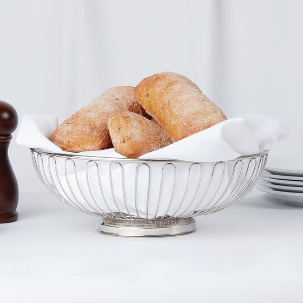 Silver Bread Basket with Base