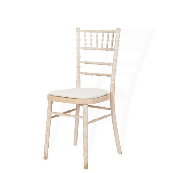 Chiavari Chair Limewash with Ivory Pad (Deluxe)