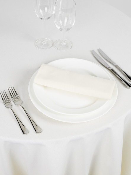 Signature Linen Tablecloth Ivory Round 132in