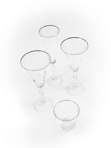 Silver Rim White Wine Glass  7oz (16 pack)