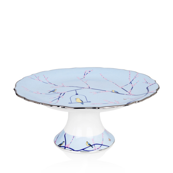 Footed Cake Stand Blue 10.5""