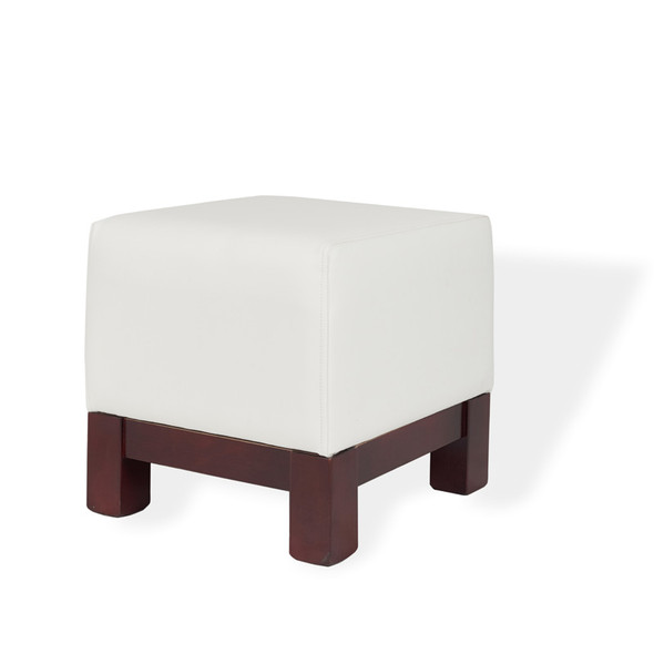 Club Footstool White Leather