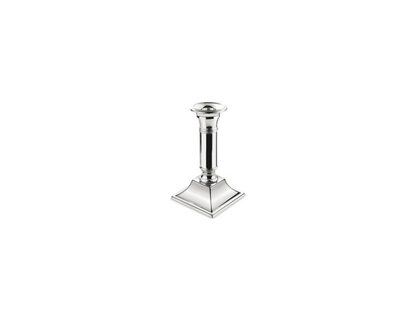 Silver Candlelstick Square Base 7in