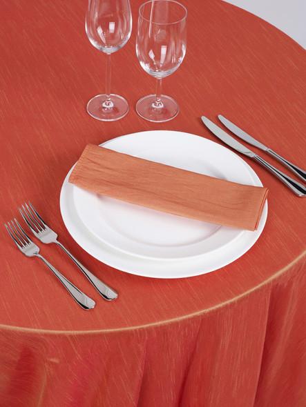 Silk Taffeta Tablecloth Orange Coral Round 132in