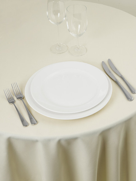 Linen Tablecloth Butter Ivory Round 132in