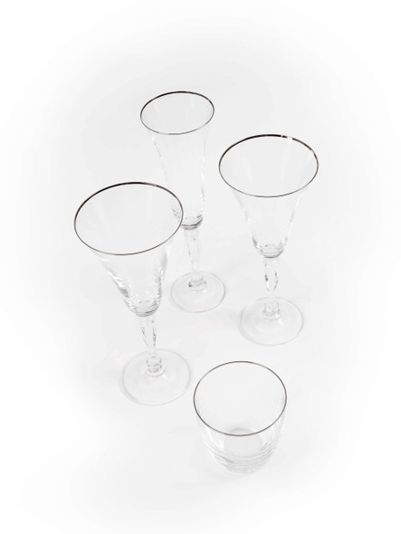 Silver Rim Water Glass