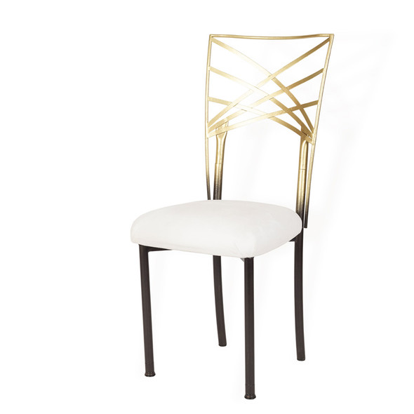 Chameleon Chair Gold & Bronze with Brown Legs