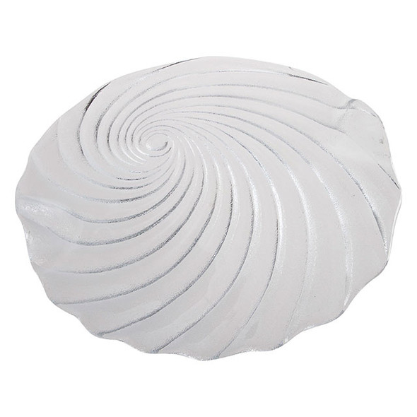 """Frosted Glass Round Spiral Plate 12"""""""