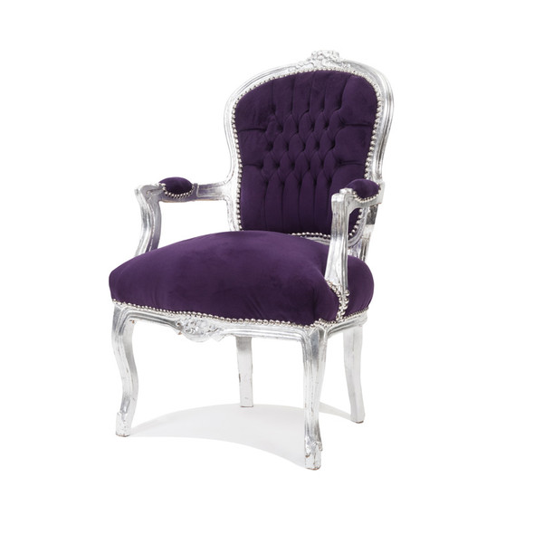 Baroque Armchair Purple with Silver Leaf Trim