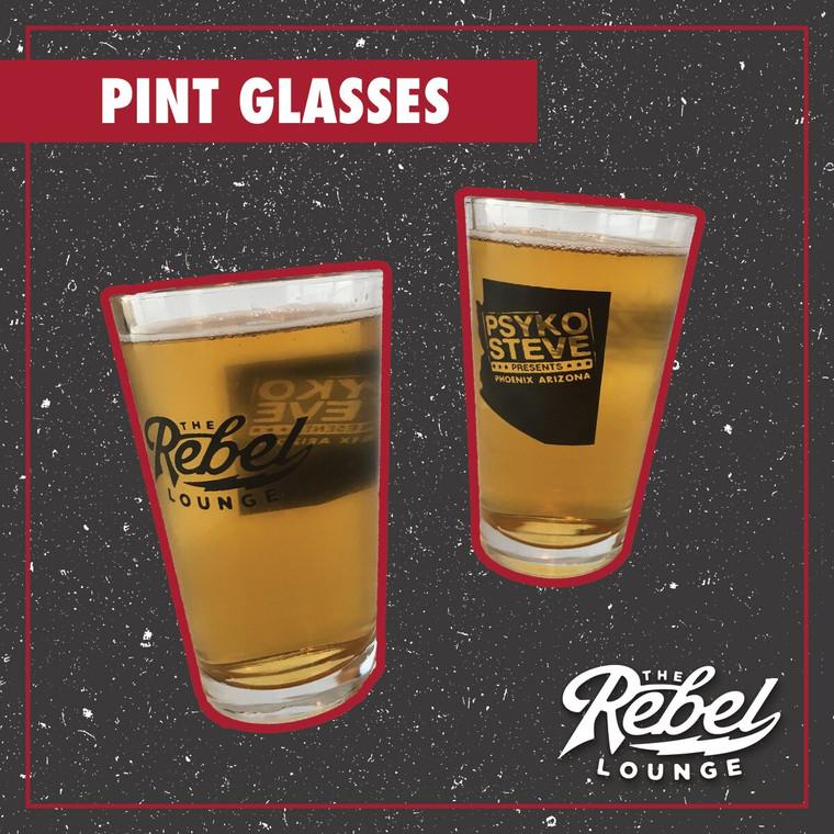 The Rebel Lounge/Psyko Steve Pint Glasses