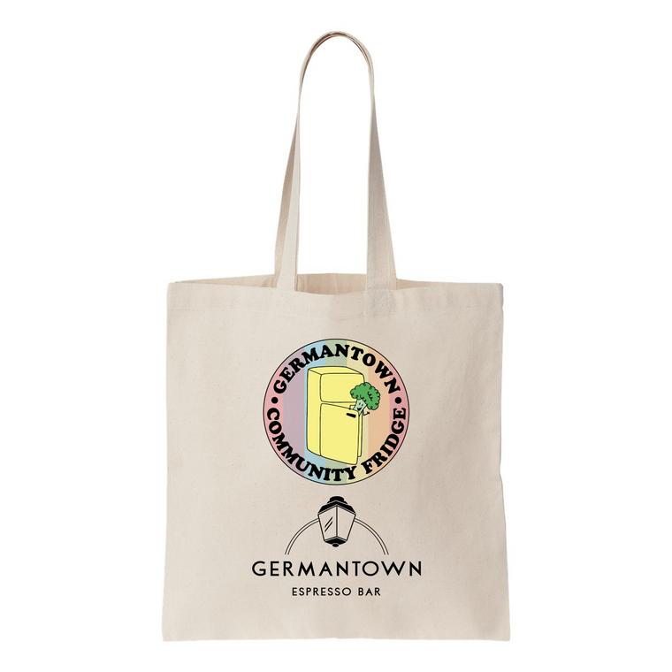 Tote with Germantown Community Fridge logo and Germantown Espresso Bar logo.