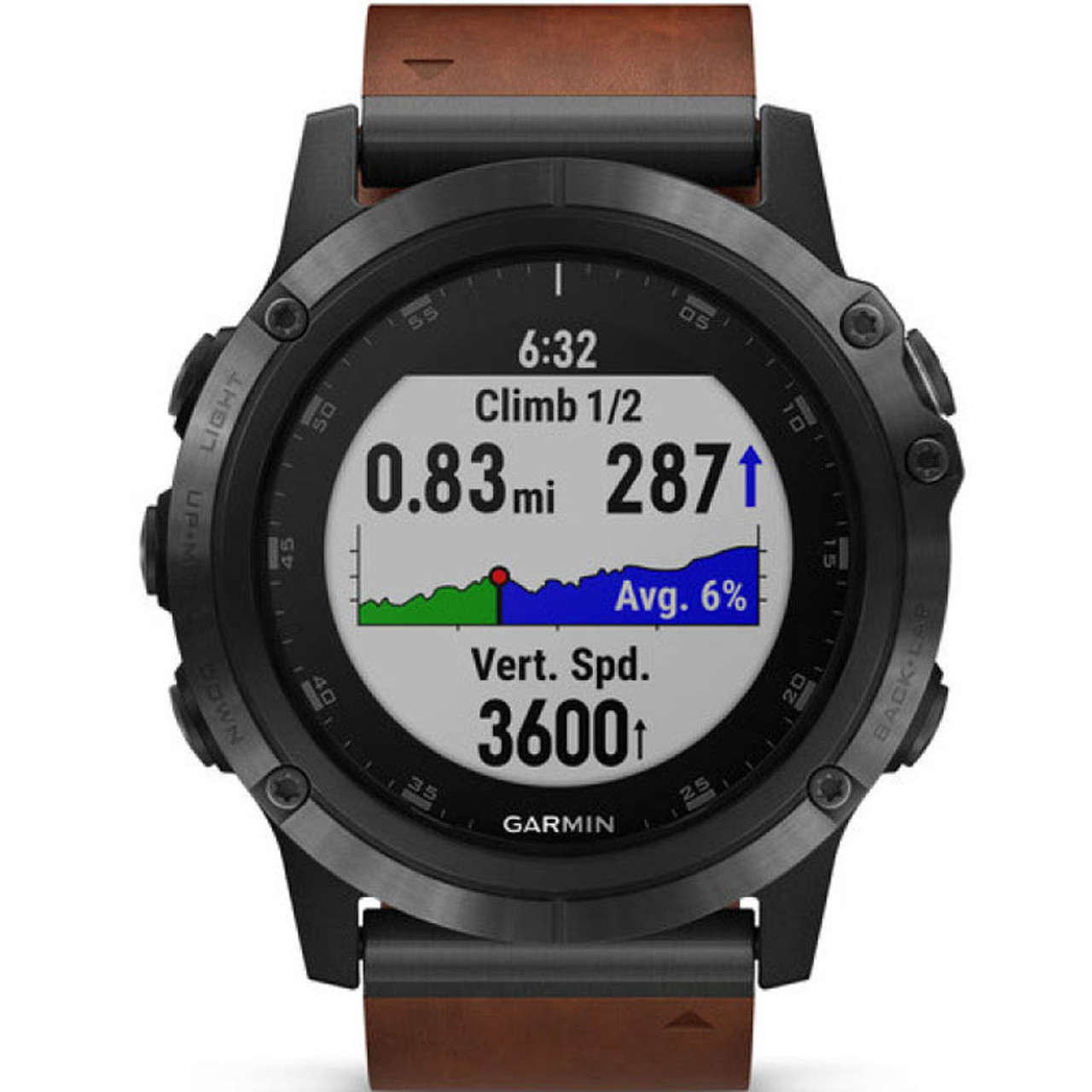 Garmin Fenix 5X Plus Sapphire Slate Grey Brown Leather Strap 51MM Watch  (Free Add-On Strap) 010-01989-03