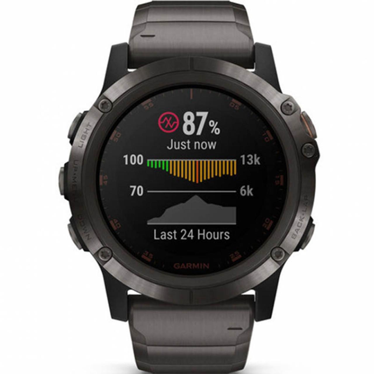 Garmin Fenix 5X Plus Sapphire Carbon Grey Titanium 51MM Watch (Free Add-On  Strap) 010-01989-05