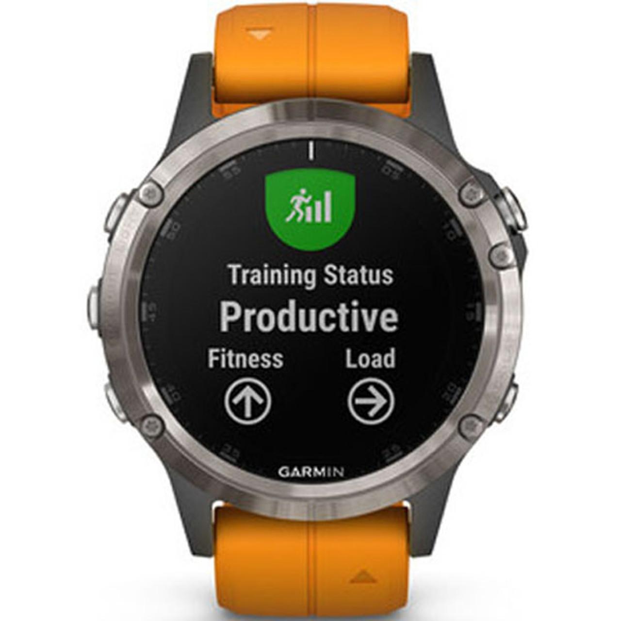 Garmin Fenix 5 Plus Sapphire Titanium Orange GPS Watch 010-01988-05