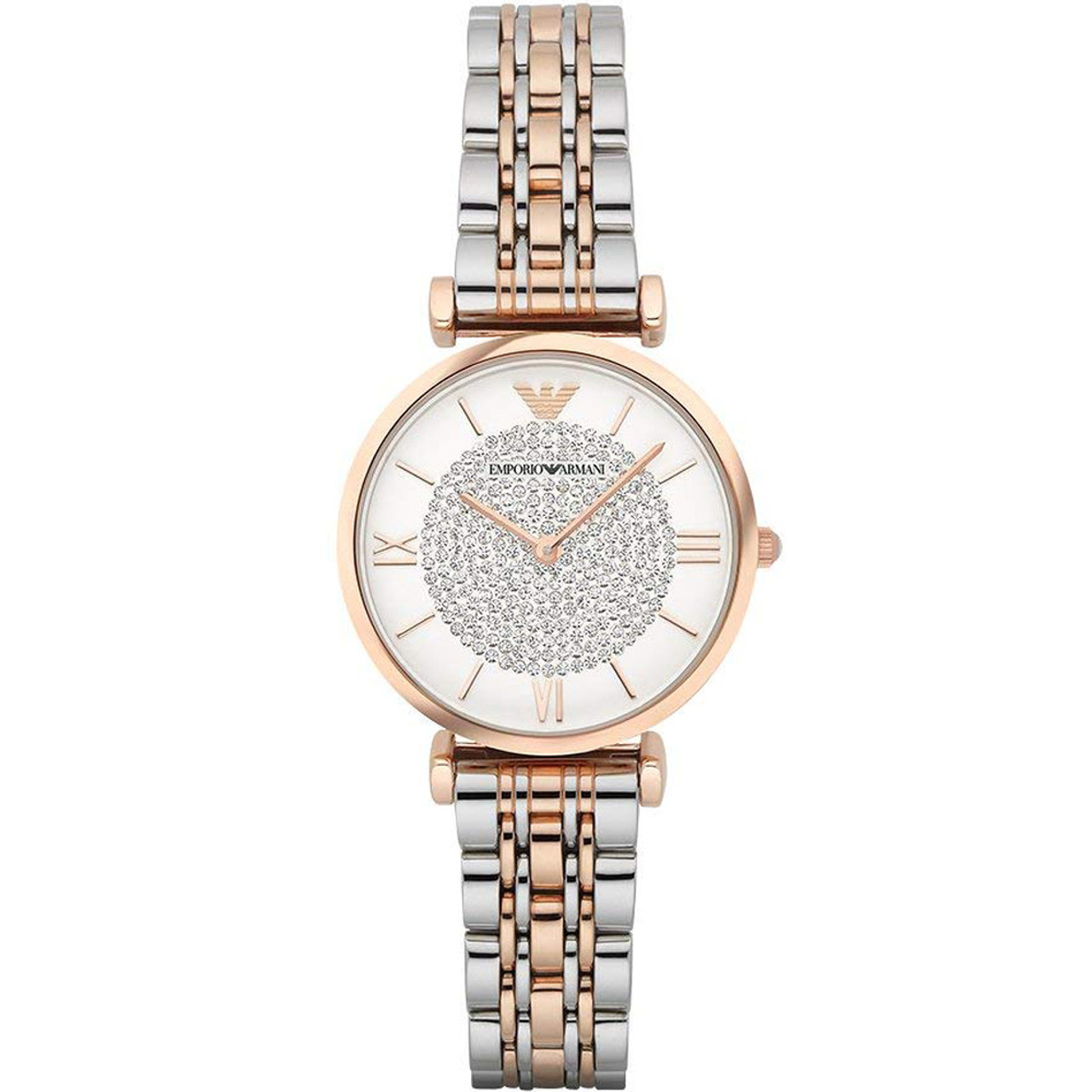 3812f5a0 Emporio Armani Retro Ladies White Crystal Pave Dial Rose Gold Plated Two  Tone Bracelet Watch AR1926