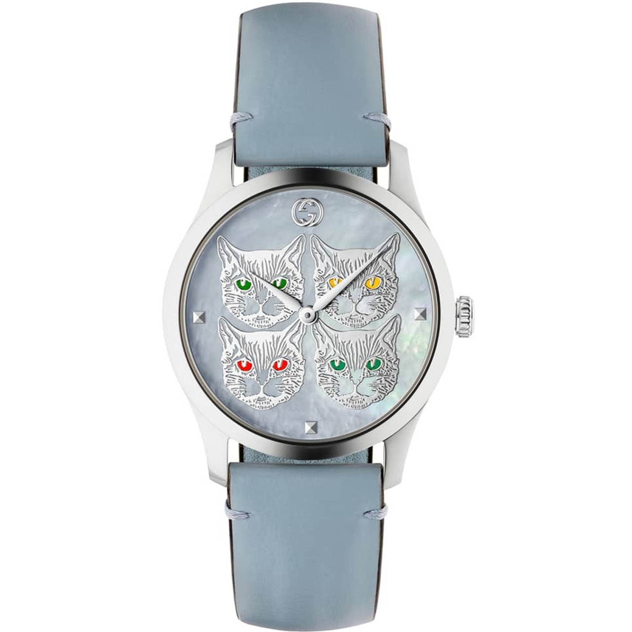 cf041a0e2 Gucci G-Timeless Contemporary Ladies Sapphire Cat Motif Blue Leather Strap  Watch Ya1264124