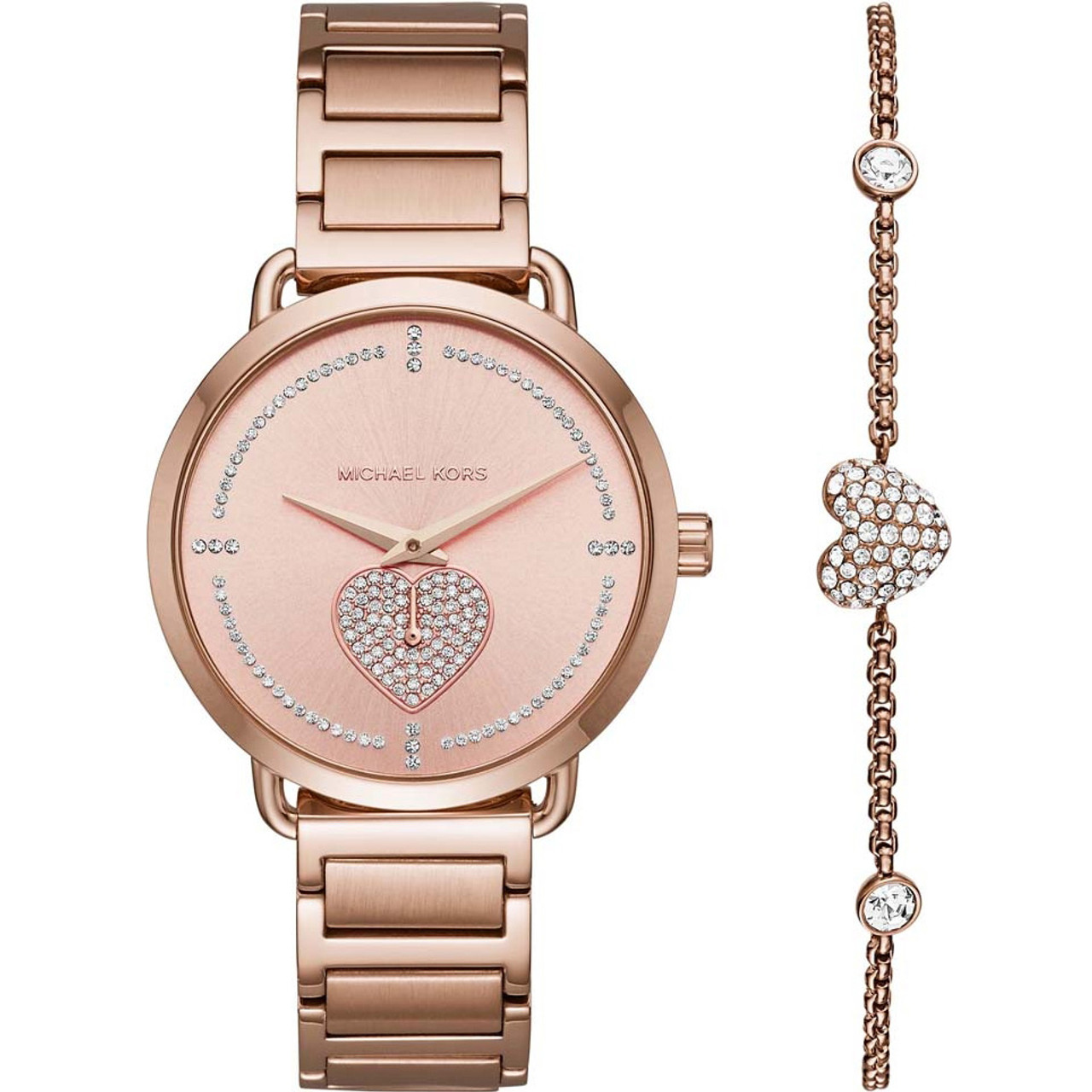 Michael Kors Portia Ladies Heart Crystals Rose Gold Watch And Bracelet Gift Set MK3827