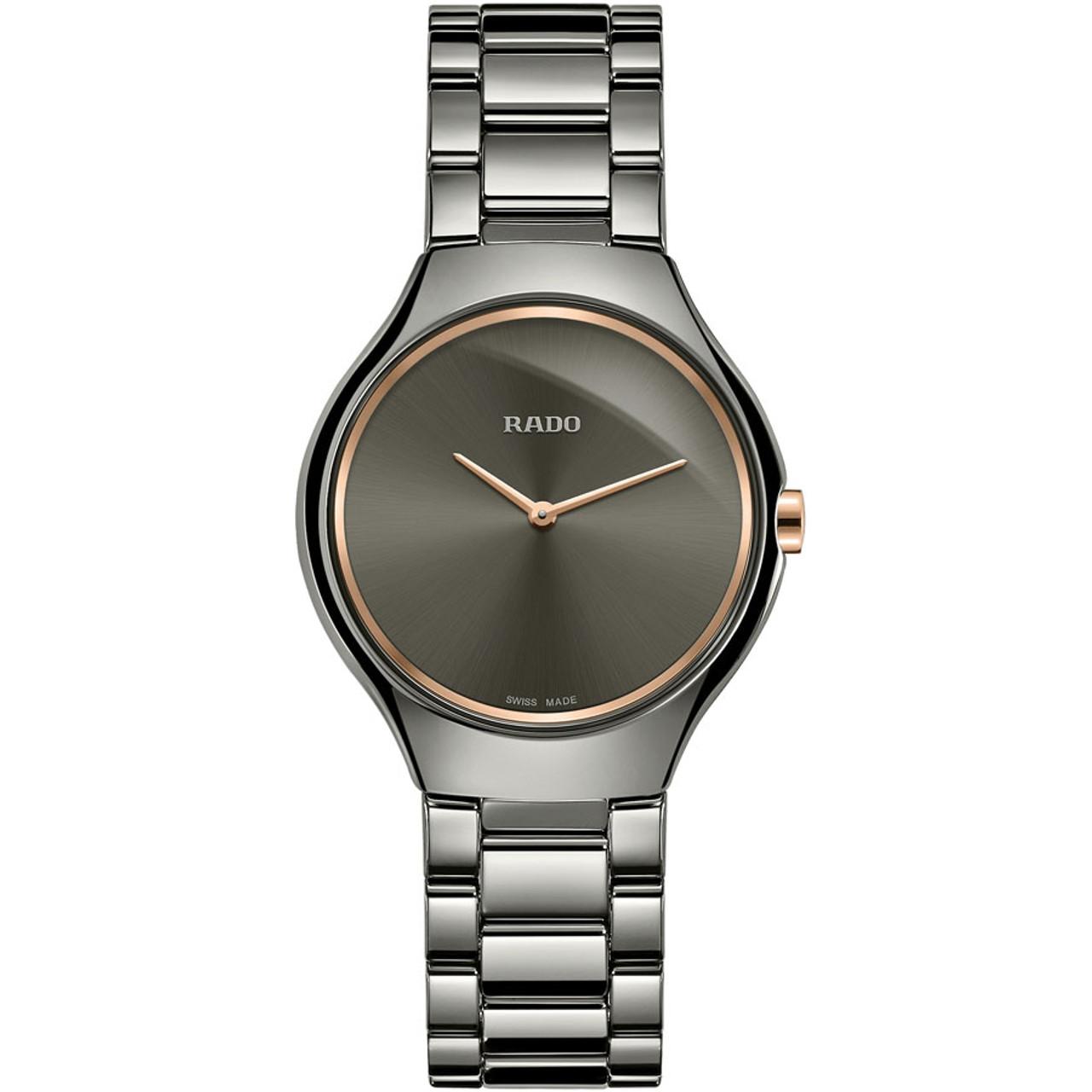 5692af5ec Rado Ladies True Thinline Sapphire Dark Grey Dial Plasma High Tech Ceramic  Bracelet Watch R27956132