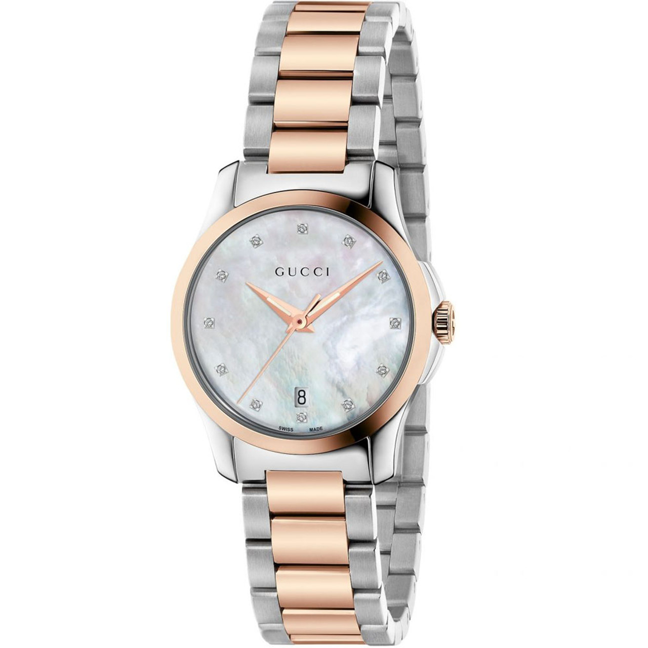 abf495af335 Gucci G-Timeless Ladies Sapphire Diamond Dots White Mother Of Pearl Dial  Two Tone Bracelet