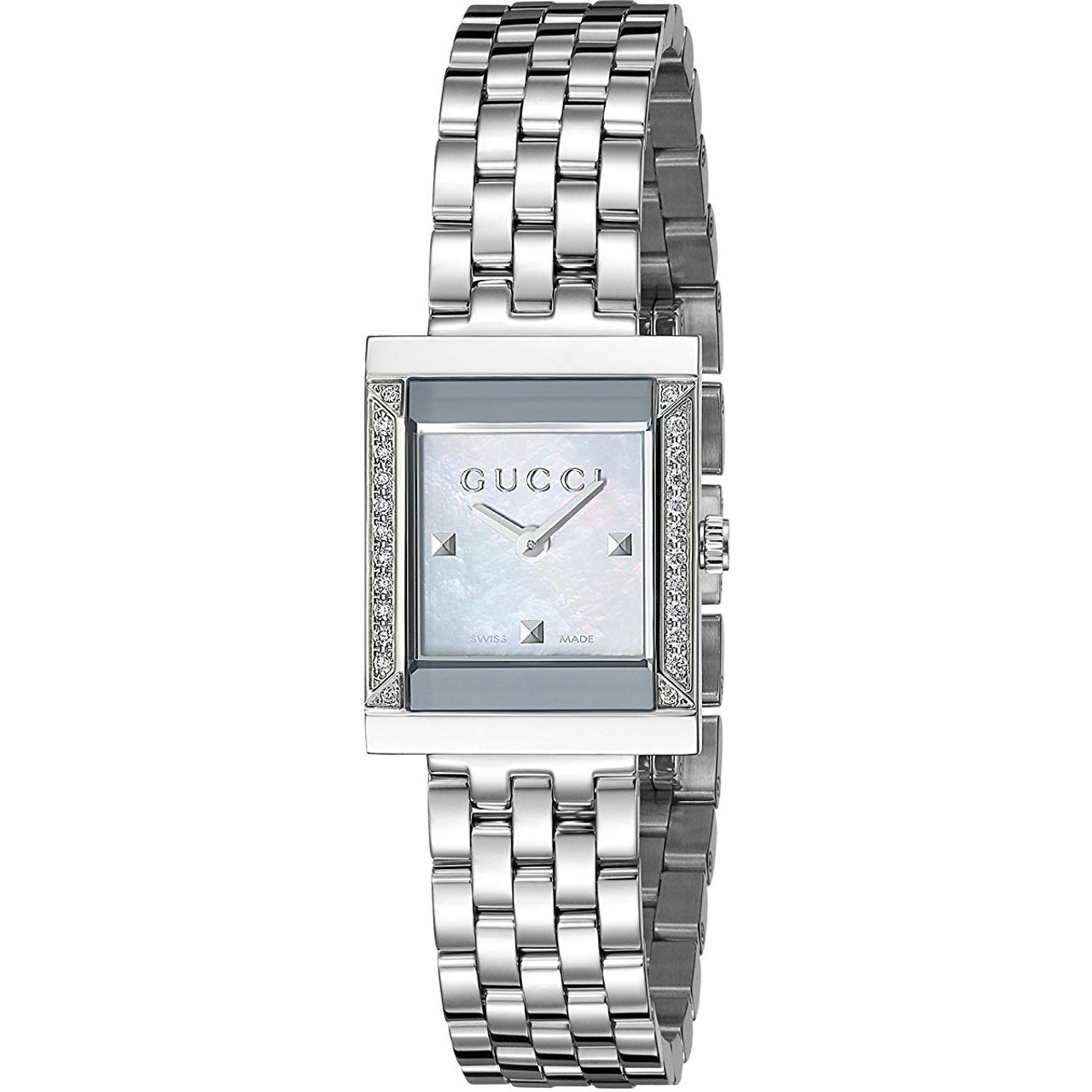 62e3f0bfac1 Gucci G- Frame Ladies Sapphire Diamonds White Mother Of Pearl Dial Silver  Bracelet Watch YA128405