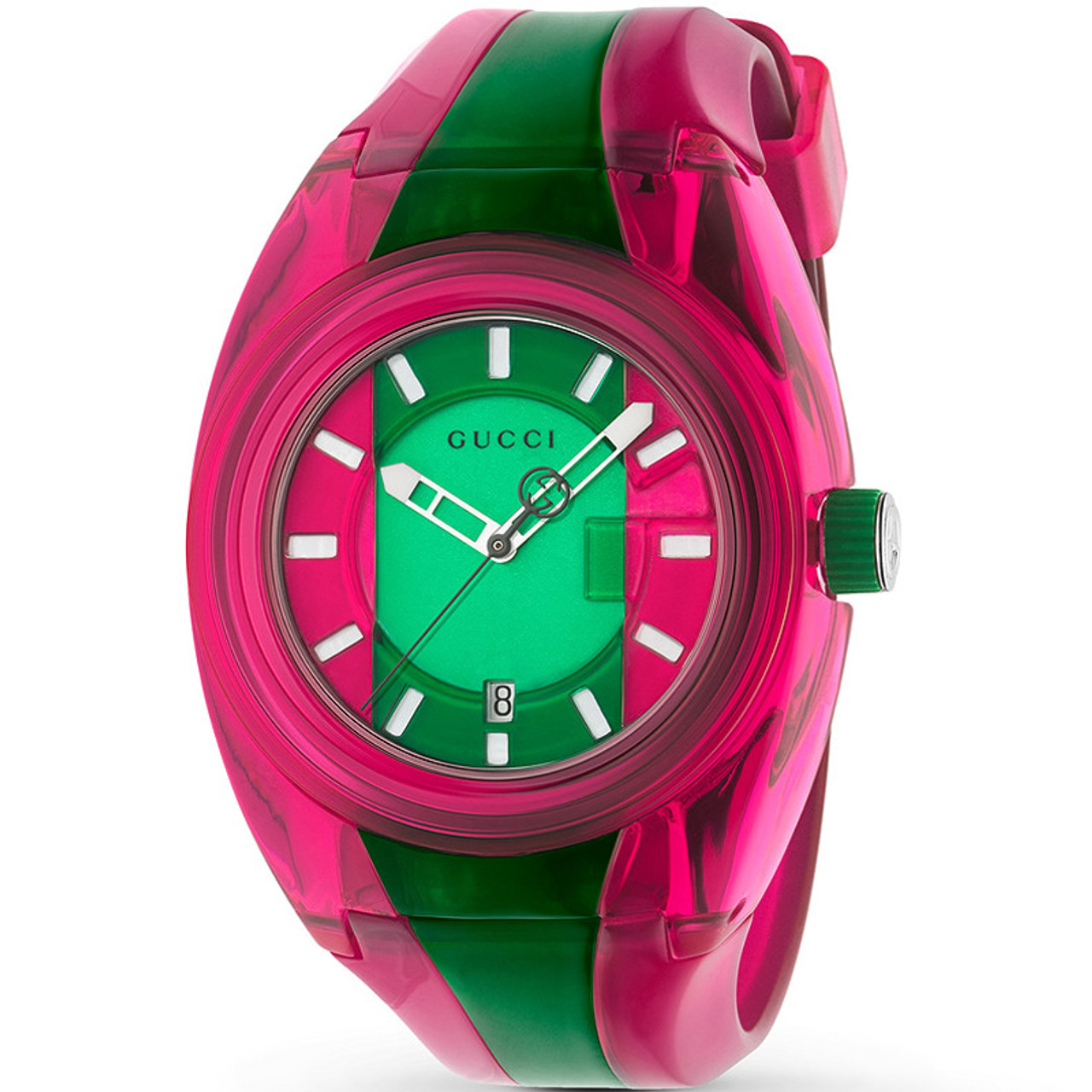 24013cb6c9c Gucci Sync Men s Pink And Gren Dial Rubber Strap Watch YA137115