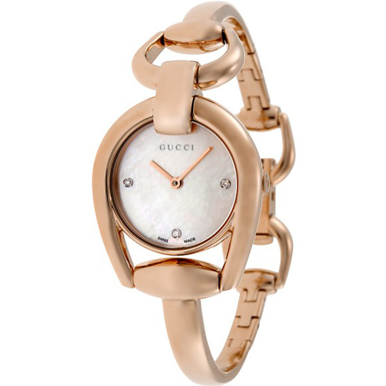 Gucci Horsebit Ladies Sapphire Diamonds White Mother Of Pearl Dial Rose  Gold PVD Bangle Watch YA139508