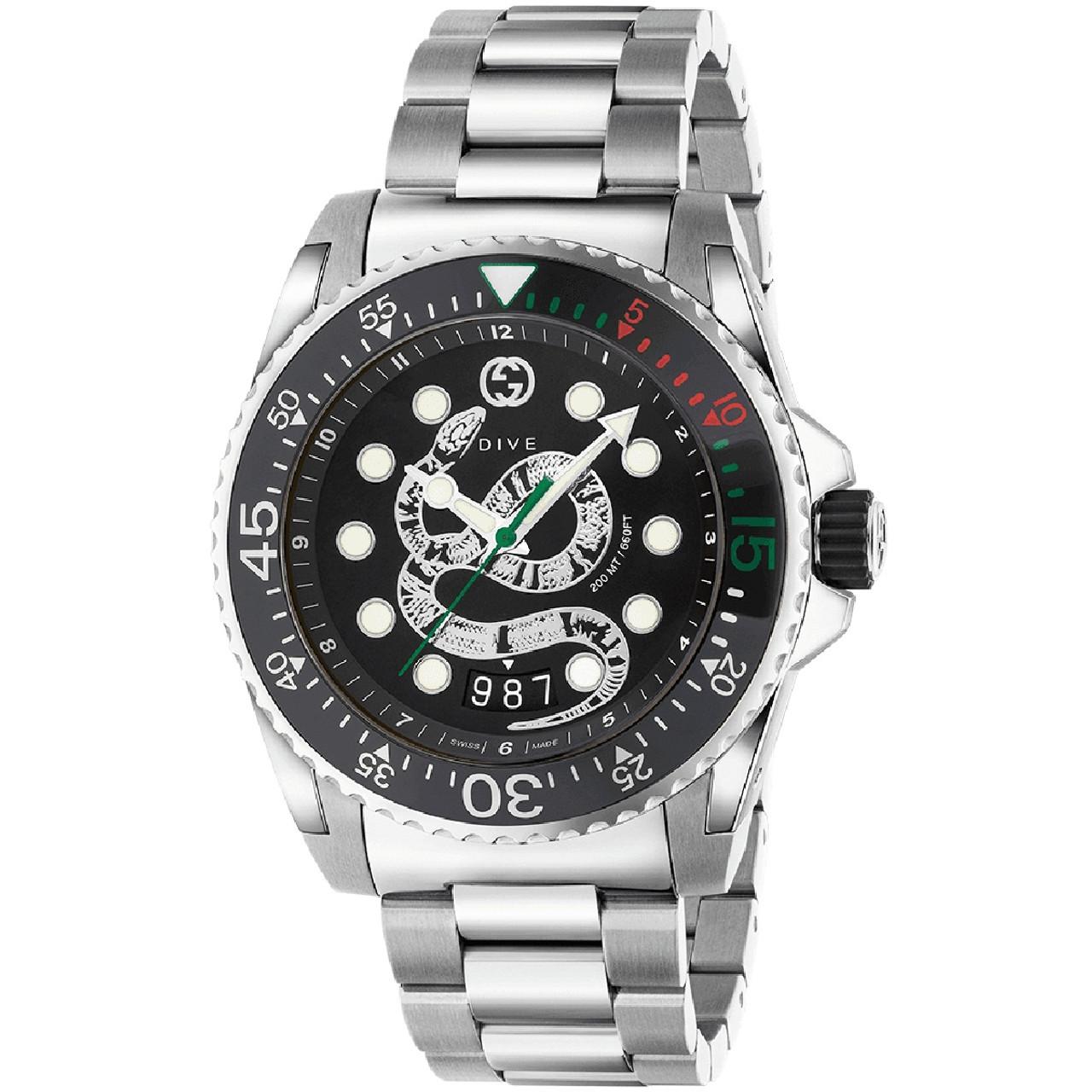 d550b6d01 Gucci Dive Men's Sapphire Snake Black Dial Silver Bracelet Watch YA136218