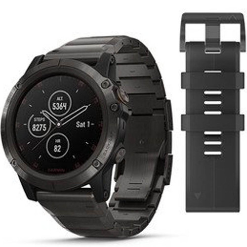 Garmin Fenix 5X Plus Sapphire Carbon Grey Titanium 51MM Watch (Free Add-On  Strap) 010-01989-05