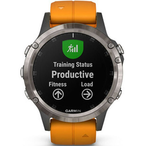 Garmin Fenix 5 Plus Sapphire Titanium Orange Gps Watch 010 01988 05