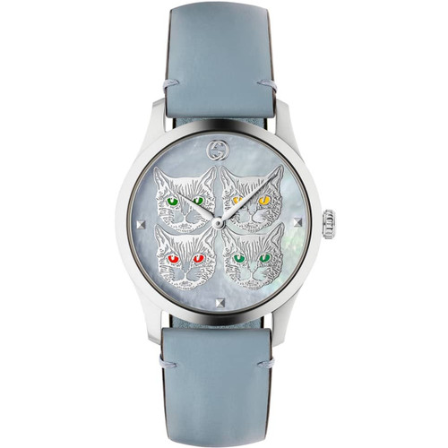 aaa3d71c8 Gucci G-Timeless Contemporary Ladies Sapphire Cat Motif Blue Leather Strap  Watch Ya1264124 ...