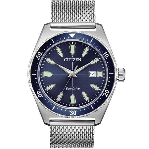 Citizen Men S Eco Drive Vintage Sport Blue Dial Silver Mesh Bracelet Watch Aw1591 52l