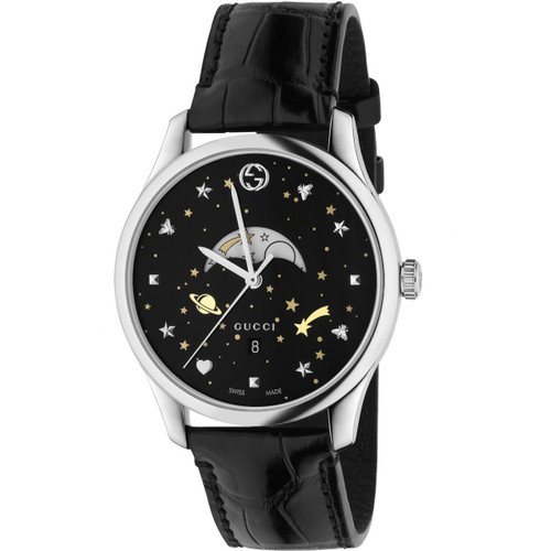 1d43ec0487d2b4 Gucci G-Timeless Moonphase Unisex Sapphire Crystal Black Dial Black Leather Strap  Watch YA126327