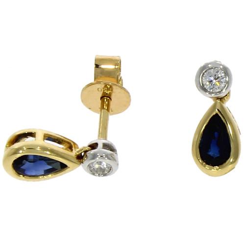 9ct Yellow Gold Blue Earrings Pearshape Sapphire Claw Set Stud Earrings 6x4mm