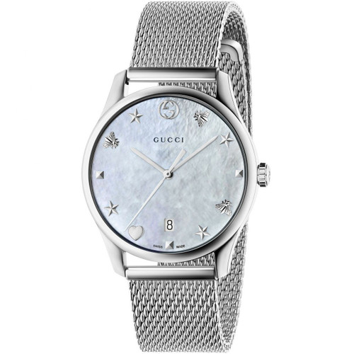7eca49203f9 Gucci G-Timeless Ladies Sapphire White Mother Of Pearl Dial Mesh Bracelet  Watch YA1264040