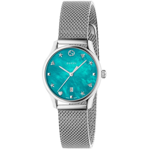 a7f452f426e Gucci G-Timeless Ladies Sapphire Turquiose Mother Of Pearl Dial Silver Mesh  Bracelet Watch YA126582